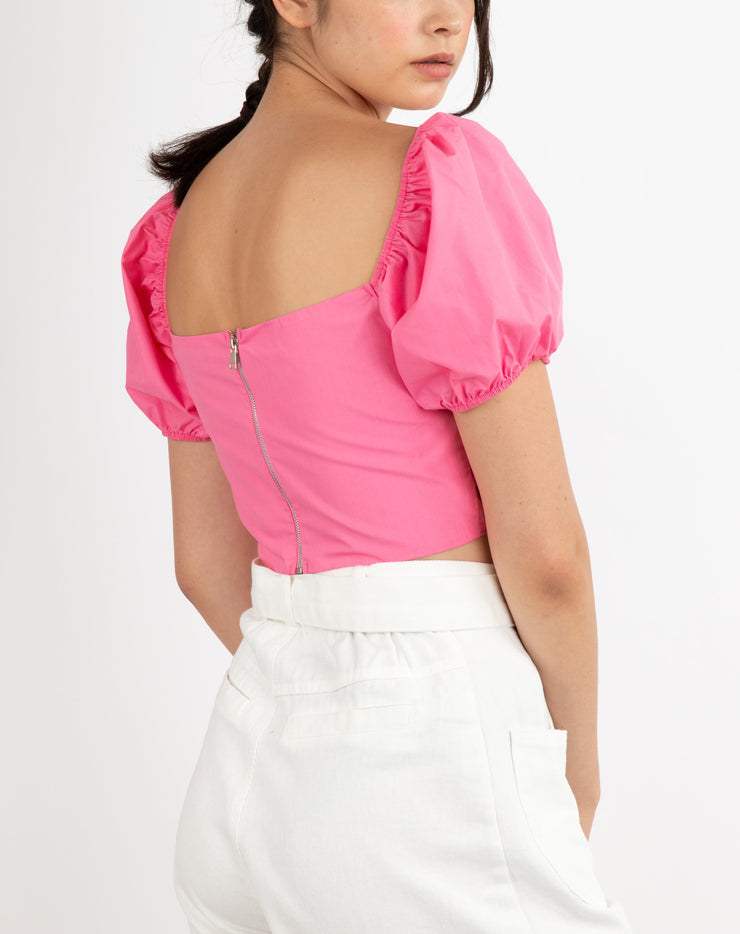 Puff Sleeve Ruched Crop Top - Berness