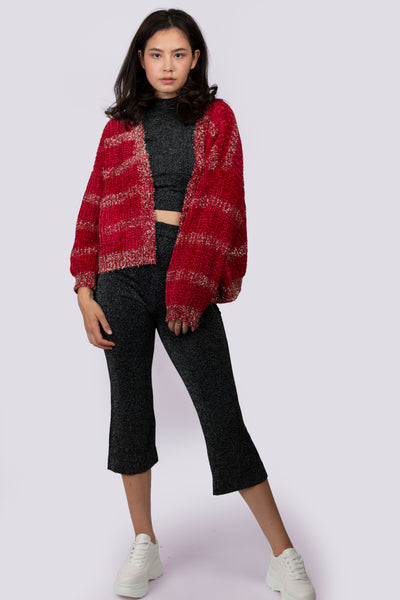 Maroon Knit Tinsel Cardigan - Berness