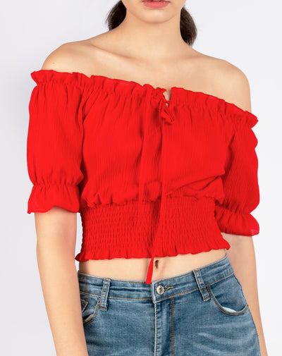 Frill Off Shoulder Shirred Crop top