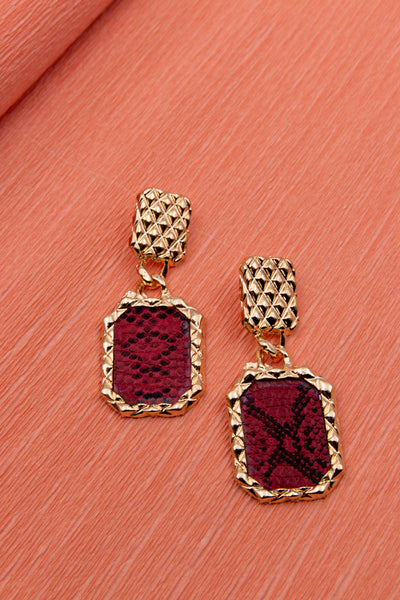 Retro Snake Print Earrings