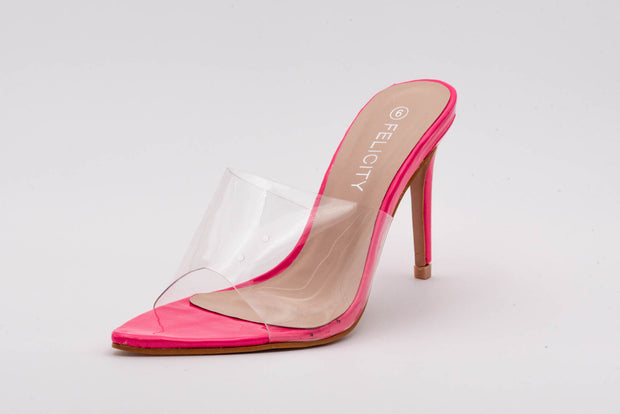 Fuchsia Pink Pointed Perspex Peep Toe Mule - Berness