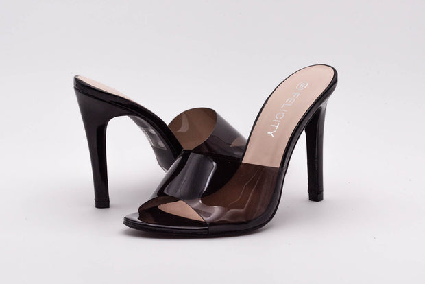 Black Perspex Peep Toe Mule - Berness