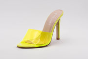 Neon Green Perspex Peep Toe Mule - Berness