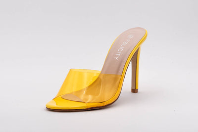 Yellow Perspex Peep Toe Mule
