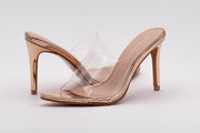 Champagne Pointed Perspex Peep Toe Mule - Berness