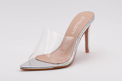 Silver Pointed Perspex Peep Toe Mule - Berness