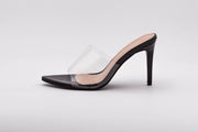 Black Pointed Perspex Peep Toe Mule - Berness