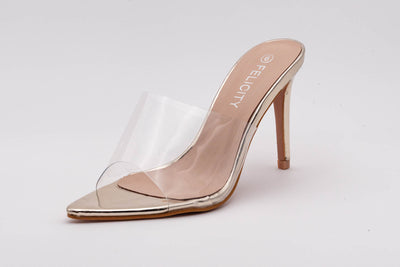 Gold Pointed Perspex Peep Toe Mule - Berness