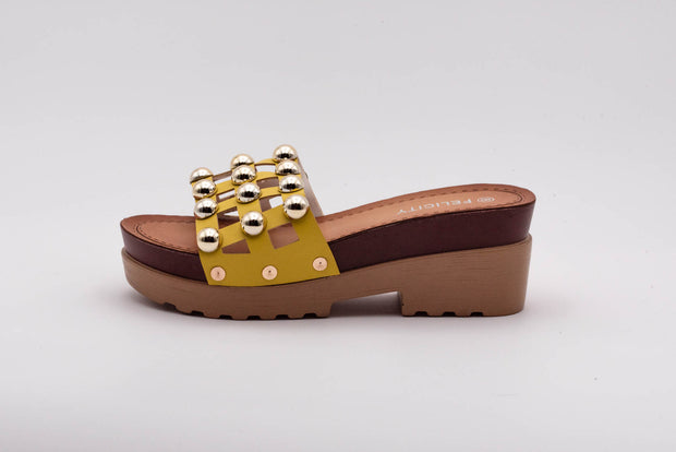 Yellow Studded Detail Heeled Slider