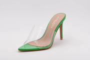 Green Pointed Perspex Peep Toe Mule - Berness