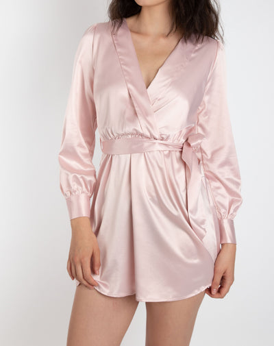 Silk Long Sleeve Powder Pink Dress - Berness