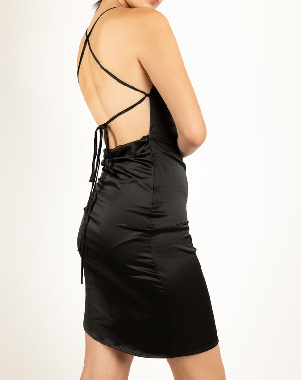 Satin Oriental Lace Up Back Midi Dress - Berness