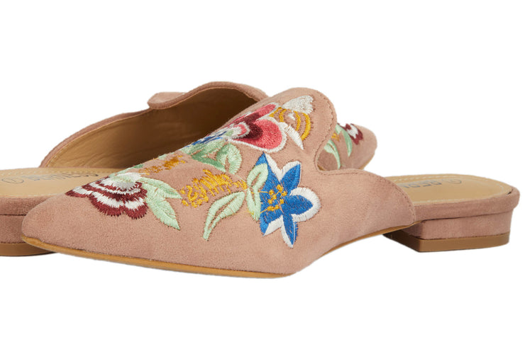 Pink Pointed Embroidery Bee Loafers - Berness
