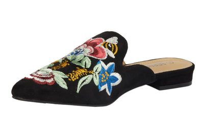 Black Pointed Embroidery Bee Loafers - Berness