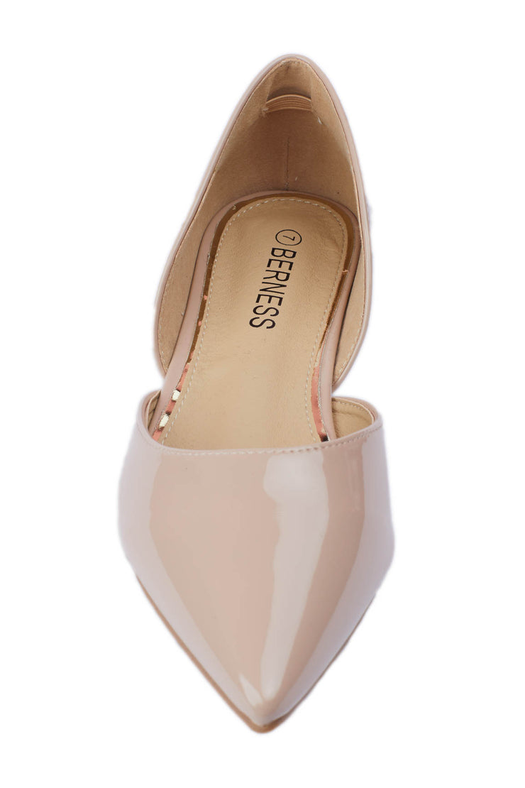 Beige Pointed Vinyl Flats - Berness