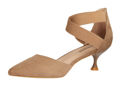Beige Pointed Faux Suede Kitten Heels - Berness