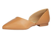 Camel Pointed Faux Leather Flats - Berness