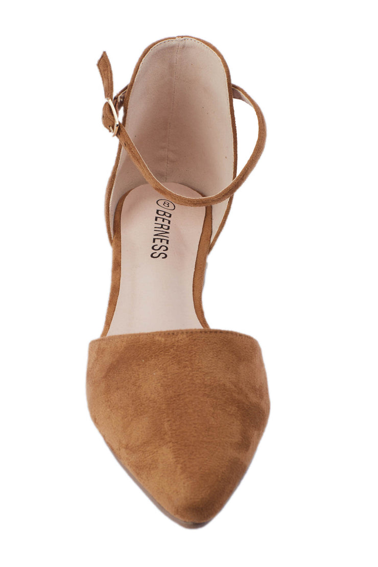 Camel Pointed Suede Flats - Berness