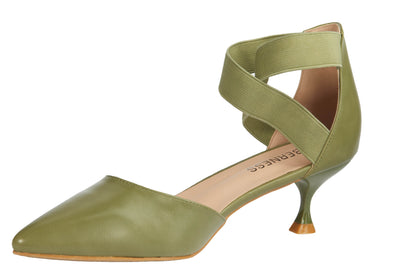 Green Pointed Faux Leather Kitten Heels - Berness
