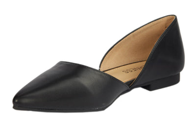 Black Pointed Faux Leather Flats - Berness