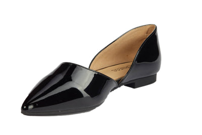 Black Pointed Vinyl Flats - Berness