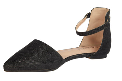 Black Glitter Pointed Flats - Berness
