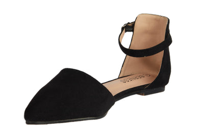 Black Pointed Suede Flats - Berness