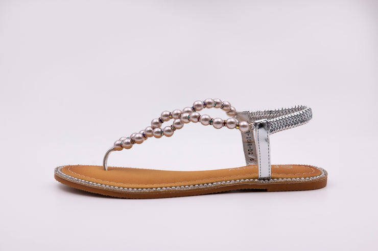Silver Pearl Thong Sandals
