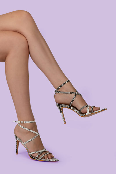 Snake Print Pointed Lace Up Heel