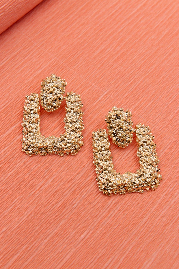 Square Gold Chunky Textured Earrings - Berness