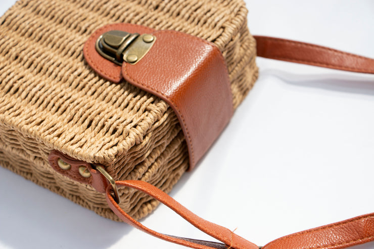 Straw Square Crossbody Buckle Bag - Berness