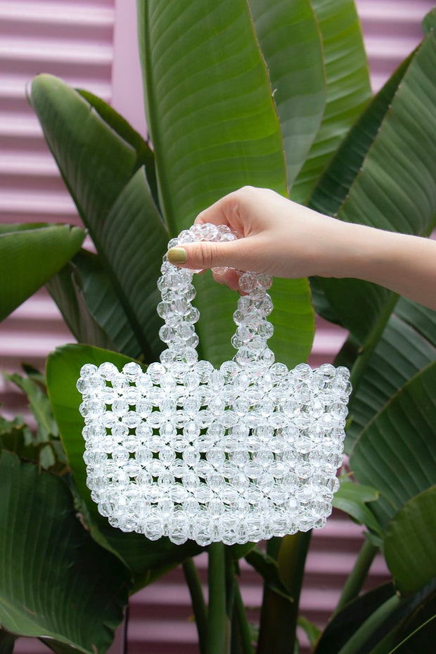 Clear Pearl Beads Handbag - Berness
