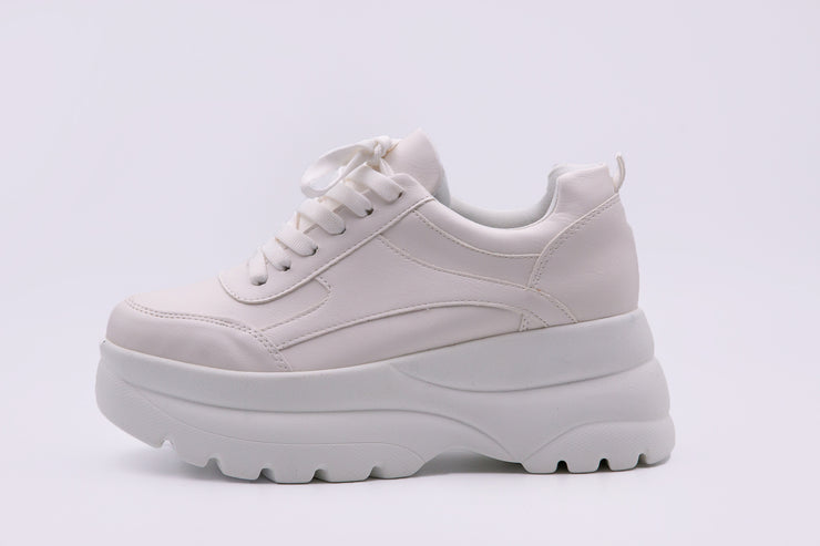 Chunky White Leather Sneaker - Berness