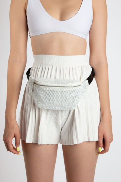 White Fishnet Fanny Pack