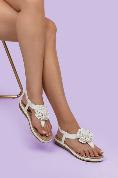 White Flower Detail Thong Sandals