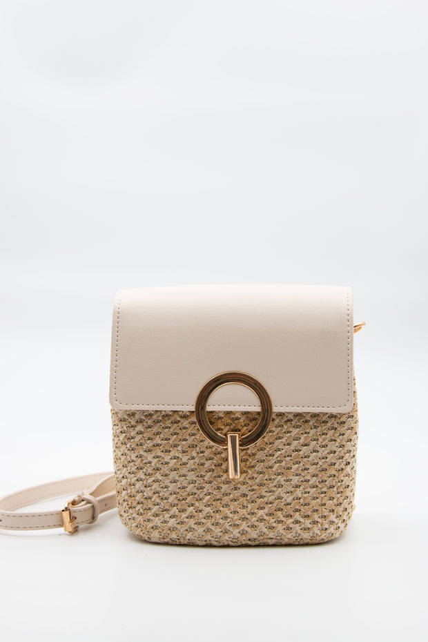 White Crossbody Strawy Bag - Berness