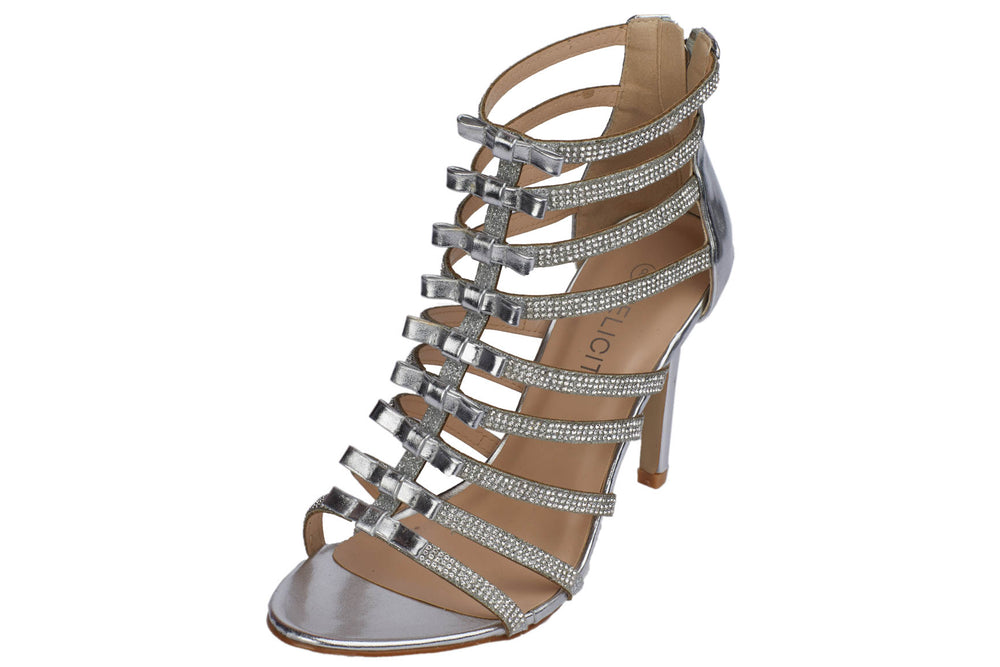 417596045553 Silver Women s Rhinestone Strap Stiletto High Heel Sandals – Berness