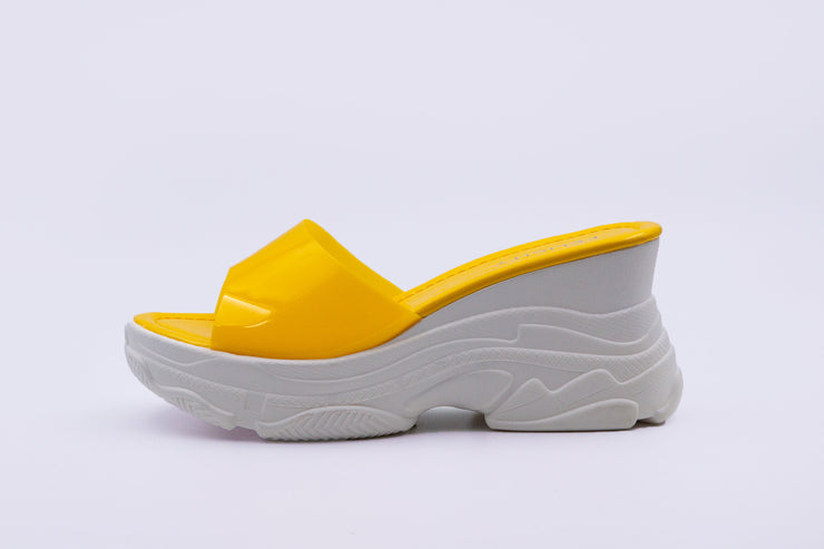 Yellow Chunky Sandals See-Through Strap