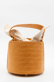 Yellow Croc Faux Leather Bucket Bag