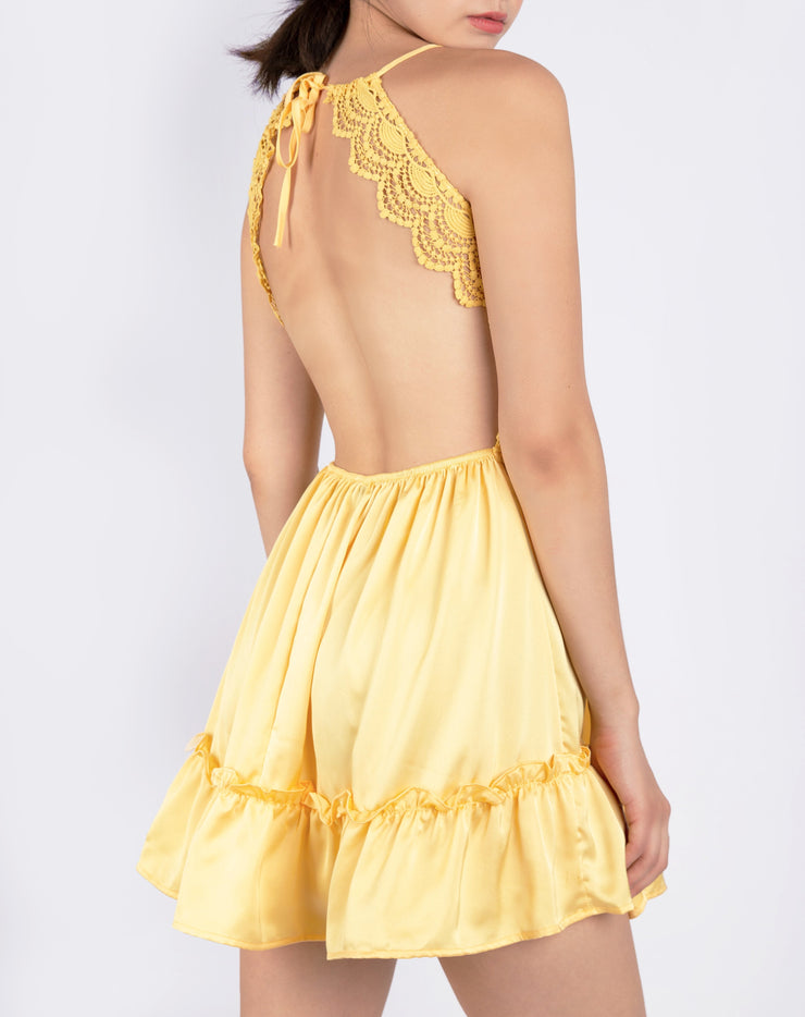 Satin Silk Lace Cami Dress - Berness