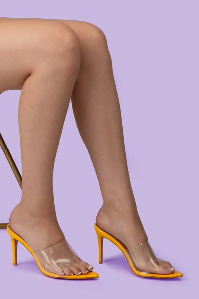 Yellow Pointed Perspex Peep Toe Mule