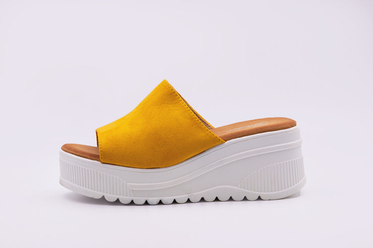 Mustard Suede Wedge Slides - Berness