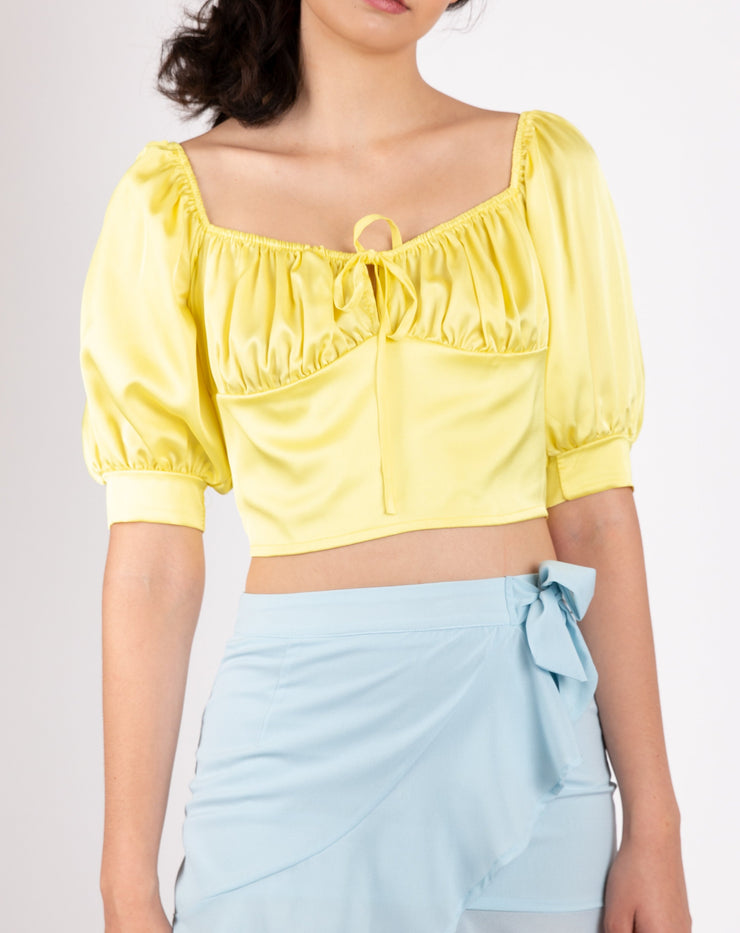 Satin Puff Sleeve Crop Top - Berness