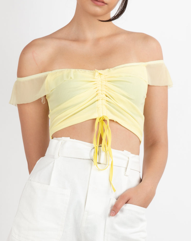 Off Shoulder Ruched Crop Top - Berness