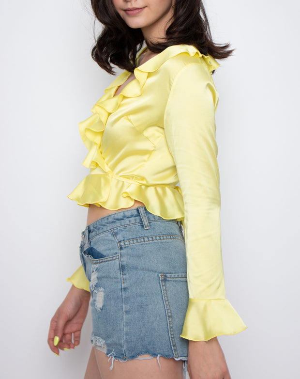 Silk Frill Wrap Blouse - Berness