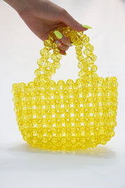 Yellow Pearl Beads Handbag