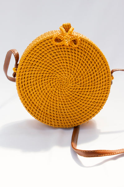 Yellow Straw Crossbody Bag - Berness