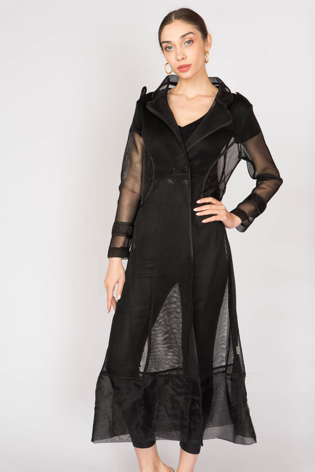 Black Longline Mesh Sheer Coat - Berness