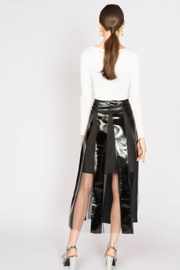 Maxi Leather Mesh Stripped Skirt - Berness