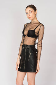 Faux Leather Zip Detailed Skirt - Berness